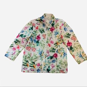 Coldwater Creek White Floral Print Puffer Jacket